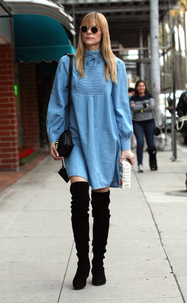 Jaime King - How To Wear A Denim Dress - TheFashionSpot