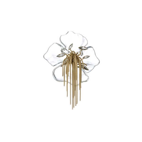 Ophelia Gold Fringed Clear Pansy Pin