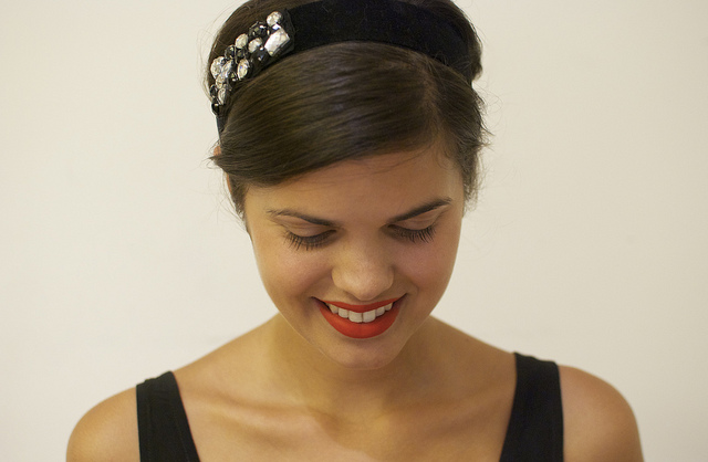 Jeweled Black Velvet Headband