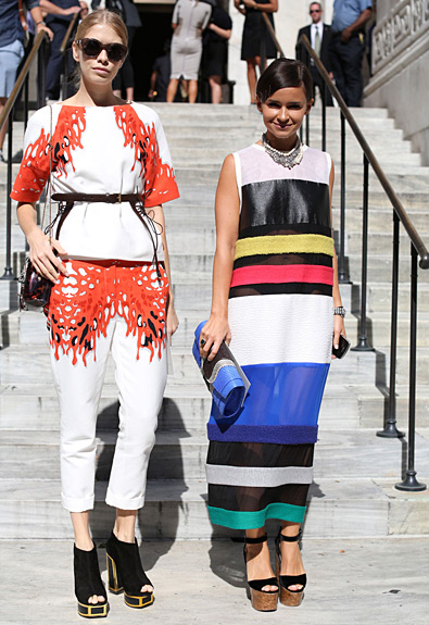 Elena Perminova and Miroslava Duma