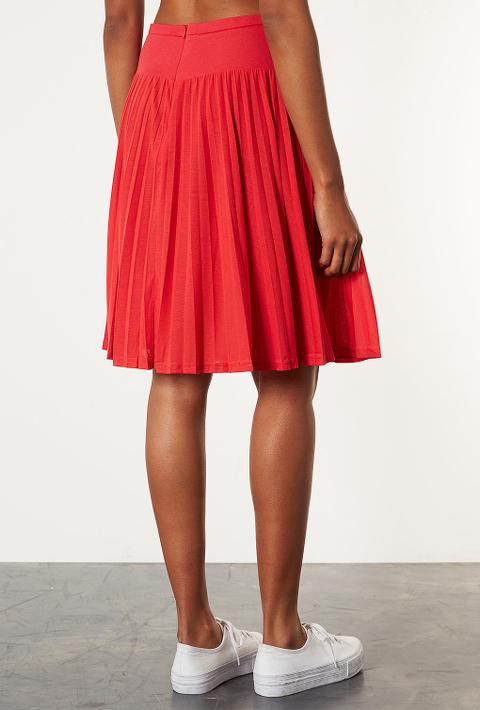 Coral Pleated Skater Skirt