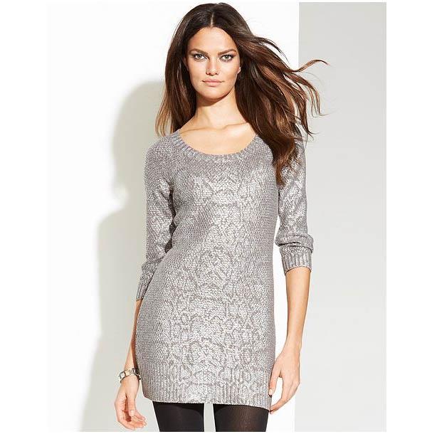 Metallic Snake-Print Tunic Sweater
