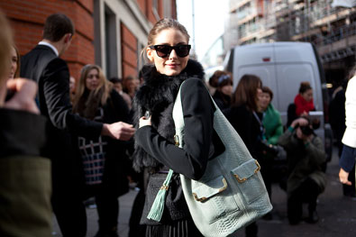 Olivia Palermo arrives at Pringle of Scotland