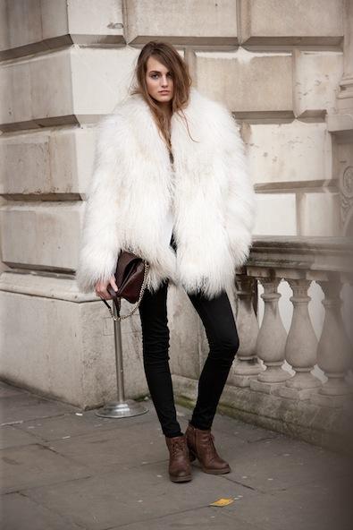 A decent amount of white faux fur