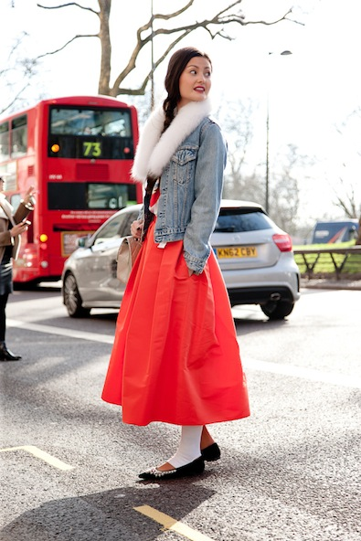Peony Lim in the cutest Tibi skirt dressed down with denim