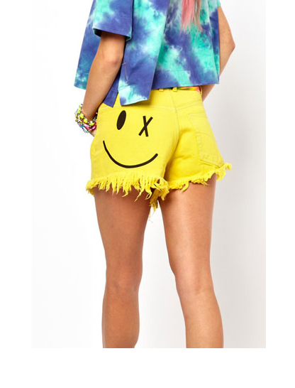 ASOS Bitching & Junkfood Denim Shorts with Acid Face