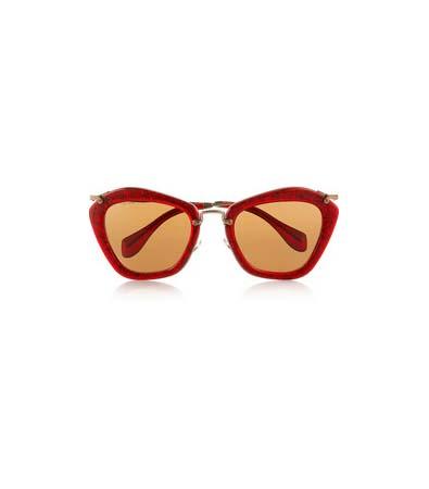 Miu Miu Cat Eye-Frame Glitter Sunglasses