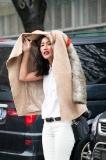 Instagram sensation Nicole Warne aka Gary Pepper Girl leaving Emporio Armarni