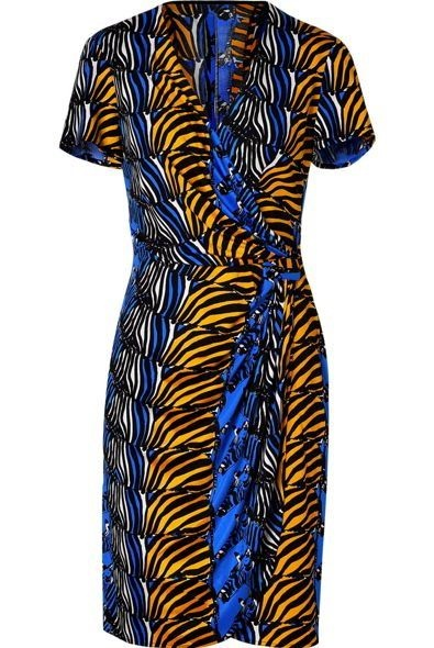 ISSA Denim Blue/Honey Zebra Print Side Drape Dress