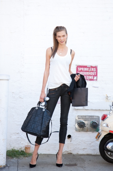 Karlie Kloss before hitting the Balenciaga store for a quick retail fix