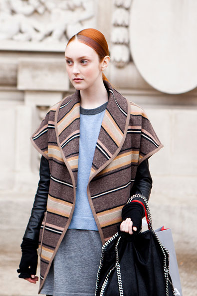 Model leaving the Issey Miyake show