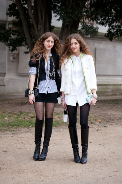 The twins, Sama and Haya Abu Khadra, leaving Chanel