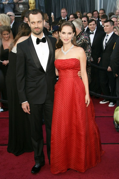 Natalie Portman in vintage Christian Dior and Benjamin Millepied