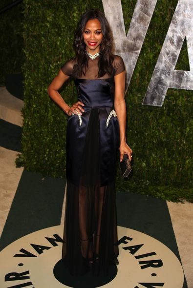 Zoe Saldana at the 2012 Vanity Fair Oscar Party