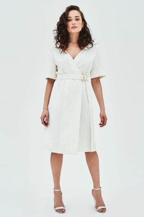 Elvi  25 Statement-Making Spring Dresses Under $100 Elvi Else Punctured White Denim Wrap Dress With Pearl Trim