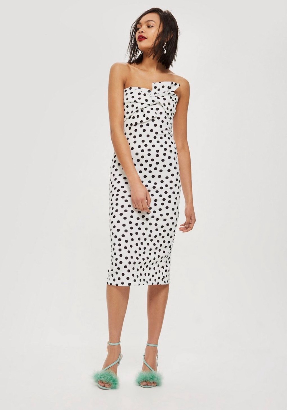Topshop  25 Statement-Making Spring Dresses Under $100 Topshop Bow Twist Dot Midi Bodycon Dress