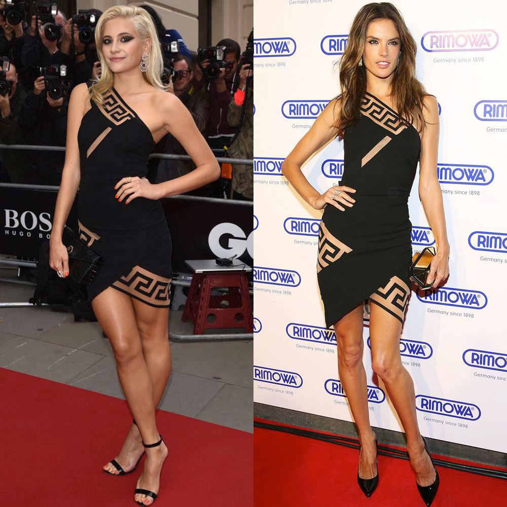 Pixie Lott and Alessandra Ambrosio in Versus Versace