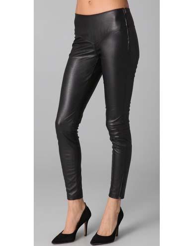 Black Denim Vegan Faux Leather Leggings