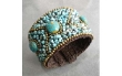 Cotton Rope Blue Reconstructed Turquoise Brass Wire Cuff