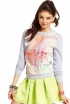 Printed Sweatshirt, Pleated A-Line Skirt