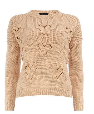 Dorothy Perkins Nude Bobble Heart Jumper