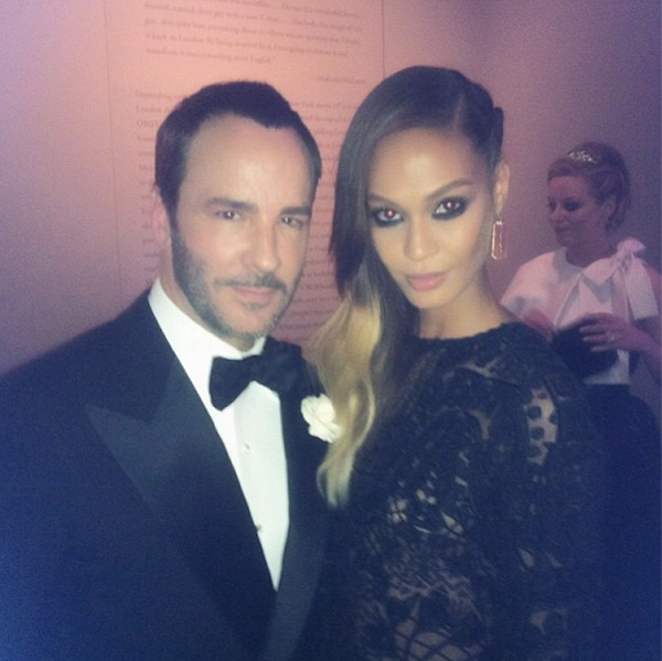 Joan Smalls and Tom Ford at the Met Gala