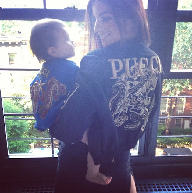 Julia Restoin-Roitfeld and Her Baby Wear Matching Pucci Jackets