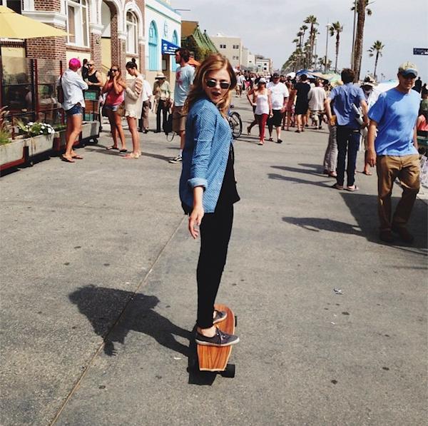 Chloe Moretz on a Skateboard