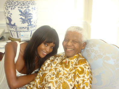 Naomi Campbell Meets Nelson Mandela