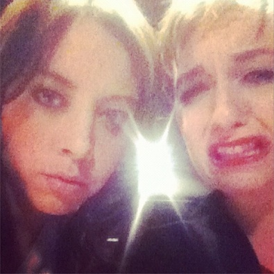 Lena Dunham and Aubrey Plaza Making Faces