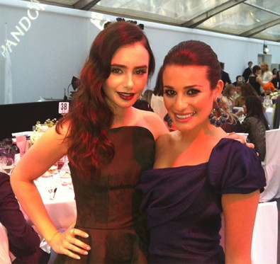 Lea Michele and Lily Collins at the Glamour Awards