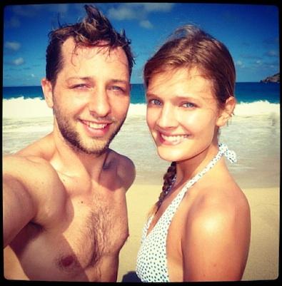 Derek Blasberg and Constance Jablonski On the Beach