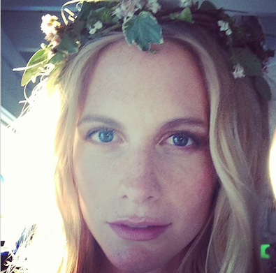 Poppy Delevigne in a Crown of Flowers