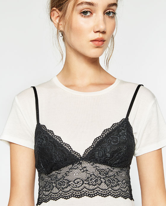 Lace dress spaghetti strap over t shirt