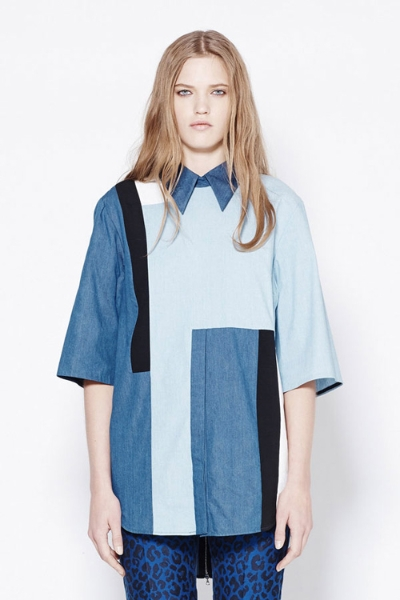 Phillip Lim Short Sleeved Patchworked Shirt with Dropped Placket
