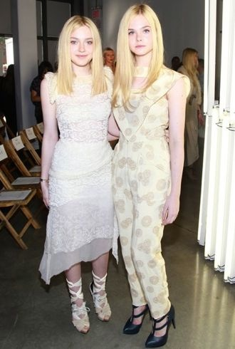 Dakota and Elle Fanning Rodarte Front Row Spring 2012 cropped