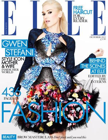 Elle UK October 2012 - Gwen Stefani in Peter Pilotto top and McQ skirt, photographed by Matt Irwin