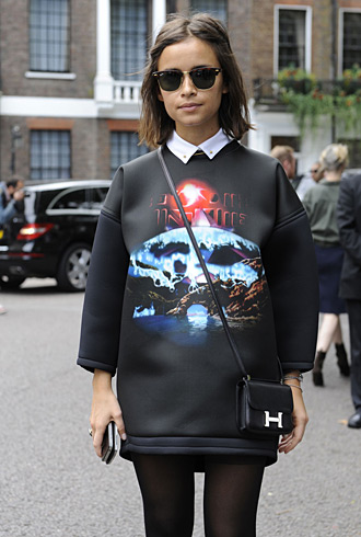 Miroslava Duma wearing Balenciaga and Hermes in London LFW SS13