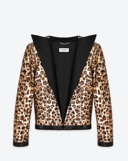 SIGNATURE OPEN JACKET IN BLACK AND GOLD ORIGINAL BABYCAT SEQUINS