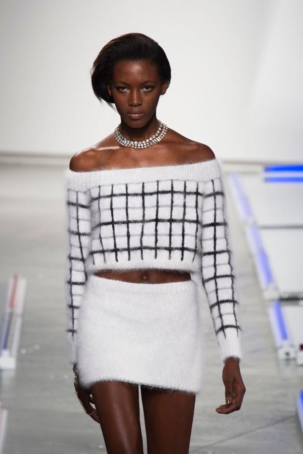 Model Kai Newman at Rodarte's Spring 2014 runway show in New York