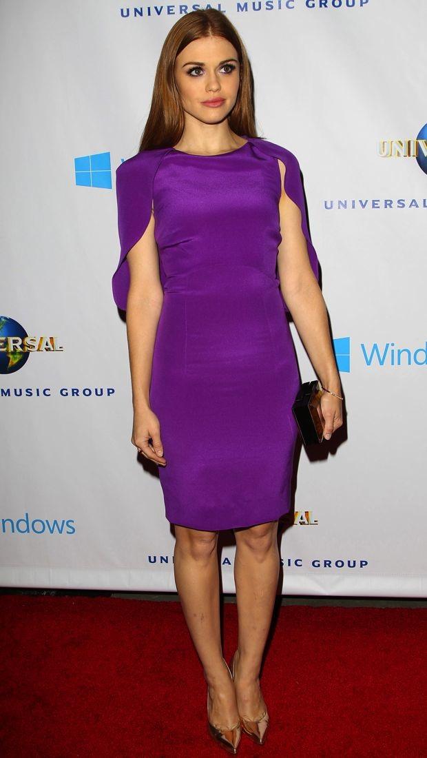 Holland Roden S Purple Basler Scalloped Cape Dress