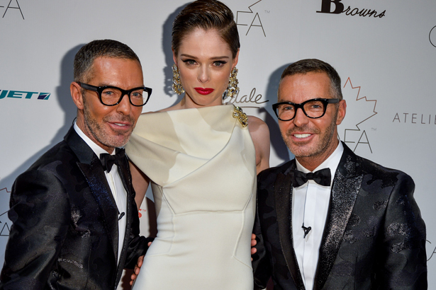Designer Dean Caten, Model Coco Rocha and Designer Dan Caten arrives at the 1st Annual Canadian Arts and Fashion Awards at the Fairmont Royal York Hotel on February 1, 2014 in Toronto, Canada. (Photo by George Pimentel/WireImage, via Getty)