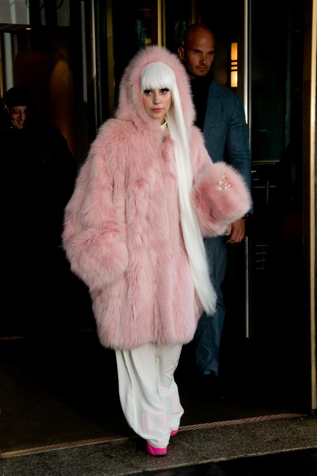 lady gaga wearing a large fluffy pink fur coat