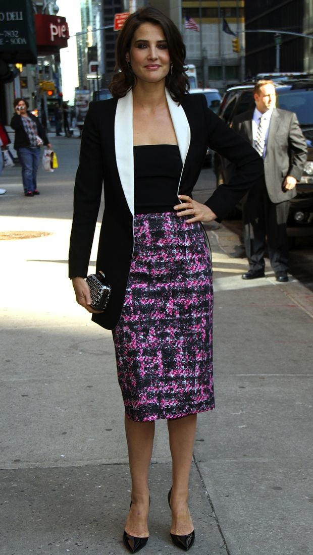Cobie Smulders Takes New York In A Tweed Monique Lhuillier
