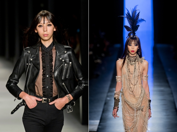 Issa Lish at Saint Laurent Spring 2014 and at Jean Paul Gaultier HC Spring 2014 (image credit: imaxtree.com)