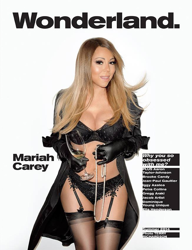 mariah carey in black lingerie for wonderland magazine photographed by terry richardson