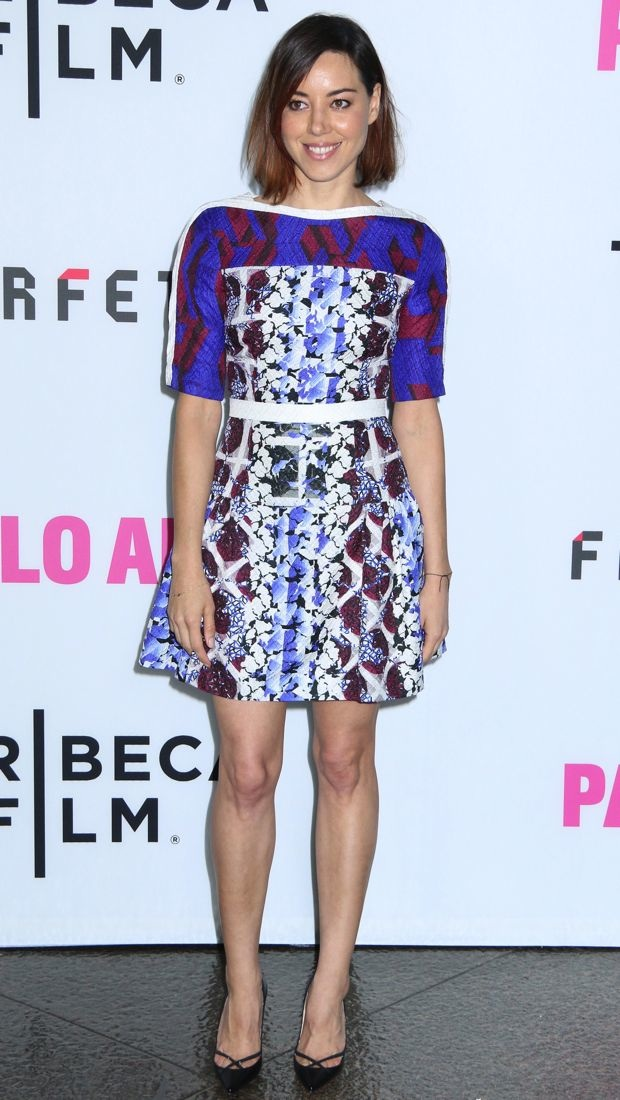 Aubrey decked out in a Peter Pilotto multihued dress
