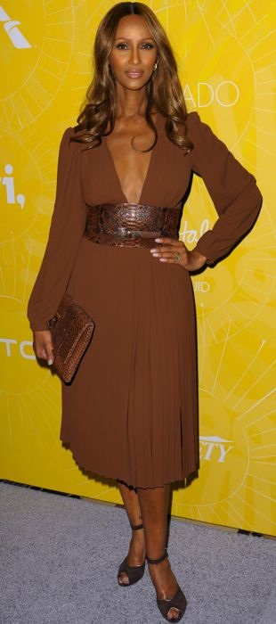 Iman wearing a rich Michael Kors Spring 2014 dress