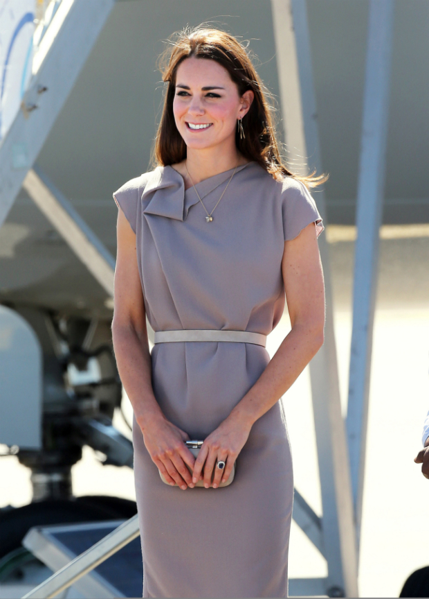 Kate Middleton in a grey outfit