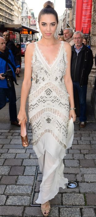 Amber Le Bon parties in London in Roberto Cavalli's beaded dress